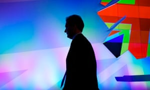 George Osborne in silhouette, Tory party conference
