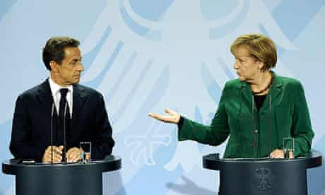 French President Nicolas Sarkozy and German chancellor Angela Merkel after meeting in Berlin