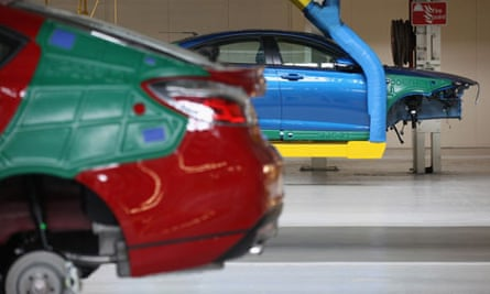 The new MG6 sports fastback on the production line at the Longbridge assembly plant in Birmingham