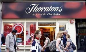Exterior shot of Thorntons shop