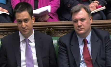 Labour party leader Ed Miliband and shadow Chancellor Ed Balls during PMQs, February 16, 2011
