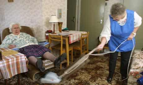 Home help Helen Dinse assists Julie Sanderson 76 yrs old