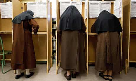 Nuns voting in the Irish elections.