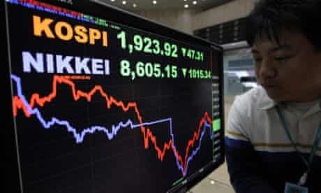 Korea, Japan stock market falls