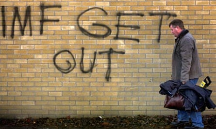 Graffiti in South Dublin on the IMF bailout of Ireland