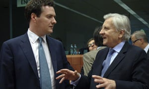 Chancellor of the Exchequer George Osborne and European Central Bank President Jean-Claude Trichet