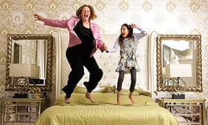 Jayne-Anne Gadhia, head of Virgin Money, with her daughter Amy, 8, at home in Edinburgh.