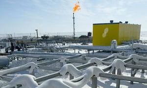 An oil pipeline in Russia's Arctic region