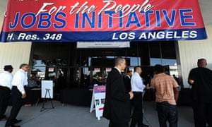 An outdoor job fair in South Los Angeles