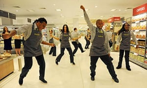 Waitrose staff at the re-opening of the Canary Wharf store