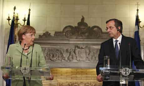Angela Merkel and Antonis Samaras