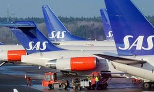 Scandinavian airline SAS aircraft
