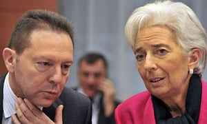 Christine Lagarde and Greek finance minister Yannis Stournaras