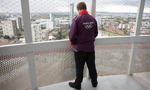 An Olympic worker