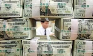US dollar bills at a bank in Seoul