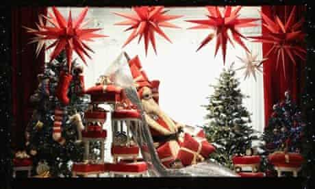 Christmas window displays in Selfridges department store on Oxford Stree