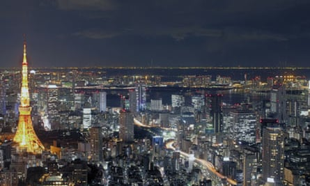 A view of Tokyo Tower and the surrounding area in Japan