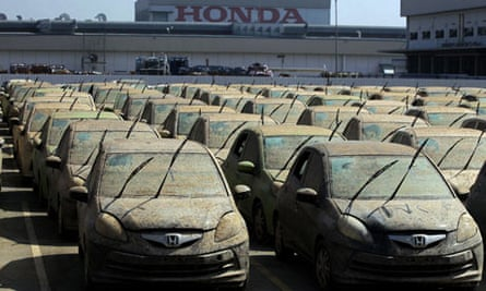 Thailand floods: damaged cars at a Honda plant in central Thailand