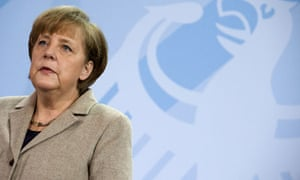 German chancellor Angela Merkel gives a statement on February 17, 2012 at the Chancellery in Berlin