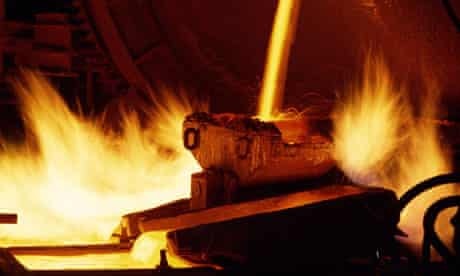 Smelting minerals at an Anglo American metal works