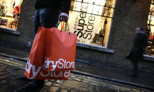 Shoppers at Superdry clothes store in Covent Garden