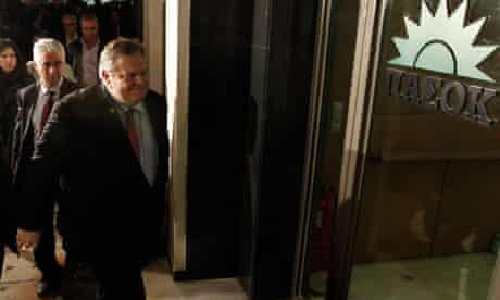 Newly elected president of Pasok socialist party Evangelos Venizelos