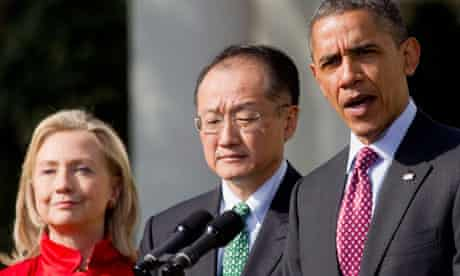 President Barack Obama, introduces Jim Yong Kim, as a nominee to become president of the World Bank