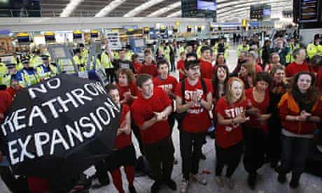 A protest against a third runway being built at Heathrow