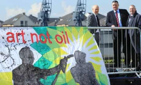 Protest banner outside the BP AGM