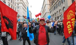 Protesters march through the streets of Rome in opposition to pension reform, 13 April 2012