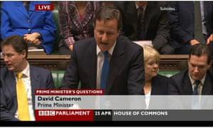 David Cameron at PMQs, April 25.
