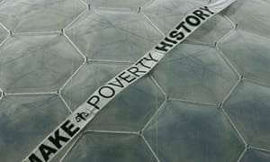 Make Poverty History banner at Eden Project in Cornwall, 2005