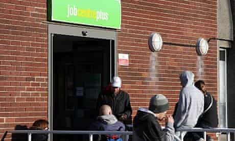 UK unemployment: people outside a job centre in Nottingham