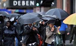 UK shoppers in the rain
