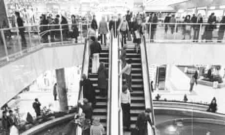 1976:  The escalators in Brent Cross Shopping Centre on the North Circular Road