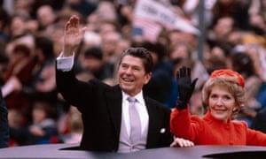 US President Ronald Reagan and wife Nancy at the Inaugural parade January 20, 1981 in Washington