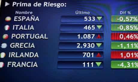 European risk premiums at the Spanish floor in Madrid, Spain, 01 June 2012