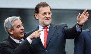 Spanish prime minister Mariano Rajoy (R) at the Euro 2012 football match between Spain and Italy