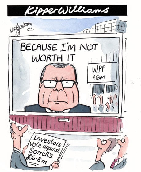 Sir Martin Sorrell gets millions, cartoon
