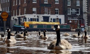 Floodwater covers the streets in the centre of York as River Ouse burst its banks, July 2012