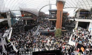 Shoppers flock to the opening of the Cabot Circus retail development in Bristol, 2008