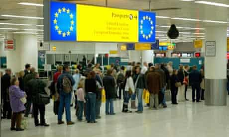 People in the queue for european passport holders at a British airport