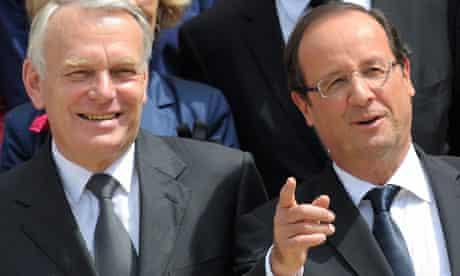 France's president Francois Hollande (R) and prime minister Jean-Marc Ayrault