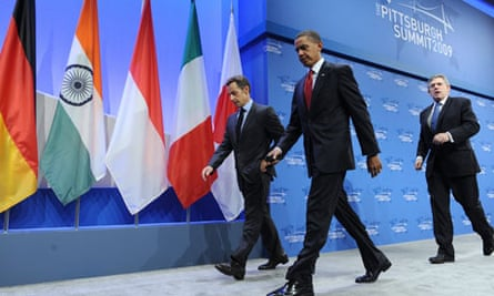 French President Sarkozy, US President Obama and British PM Brown at the G20 summit, 2009