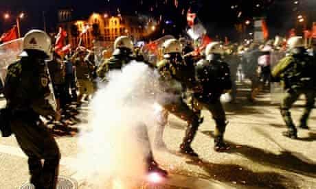 Riot police clash with protestors in Thessaloniki, Greece, 2010