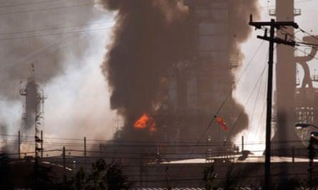 Chevron refinery fire, Richmond, California, America