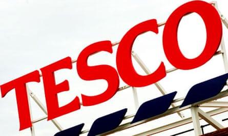 Tesco sign outside a supermarket