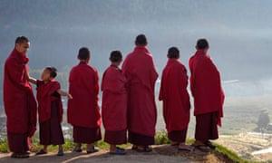 Novice Buddhist monks in Bhutan's capital Thimphu