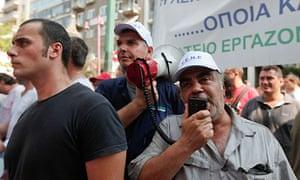 Greek shipyard workers protest