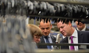 LibDem leader Nick Clegg visits manufacturing and recycling firm Mainetti, Scotland